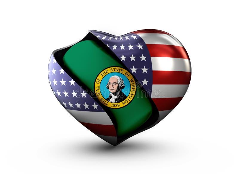 USA stanu Waszyngton flaga na białym tle royalty ilustracja