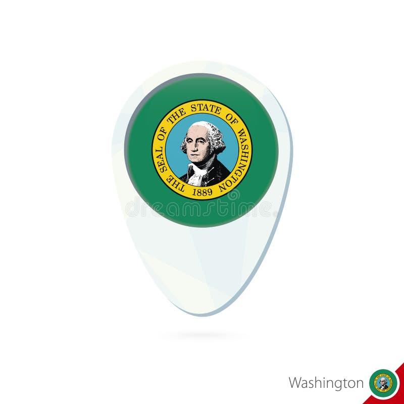 USA stanu Waszyngton flagi lokacji mapy szpilki ikona na białym backgro ilustracja wektor