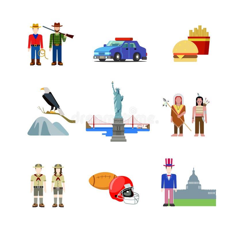 USA Stany Zjednoczone Ameryka Amerykańskiej kultury krajowy wektorowy mieszkanie ilustracji