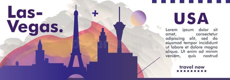 USA Stany Zjednoczone Ameryka Las Vegas linii horyzontu miasta gradientu vec zdjęcie stock