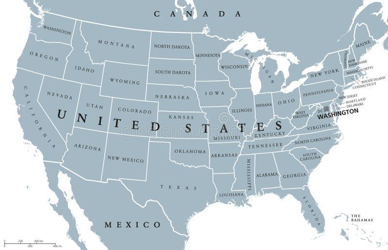 USA Stany Zjednoczone Ameryka polityczna mapa ilustracja wektor