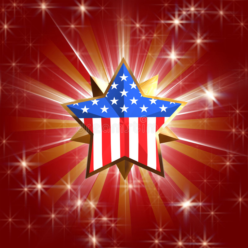 Usa star. 3d golden star with usa flag over red background with rays, gleams and stars royalty free illustration