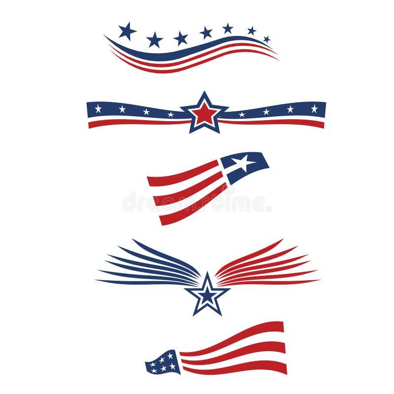 USA star flag design. Elements