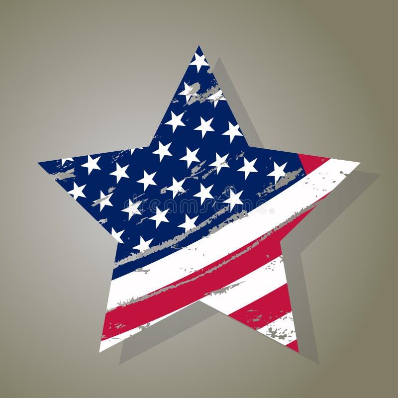 USA Star, Grunge american flag, vector. USA Star in vintage style, Grunge american flag, Independence or Veterans Day print, Patriotic emblem vector illustration royalty free illustration