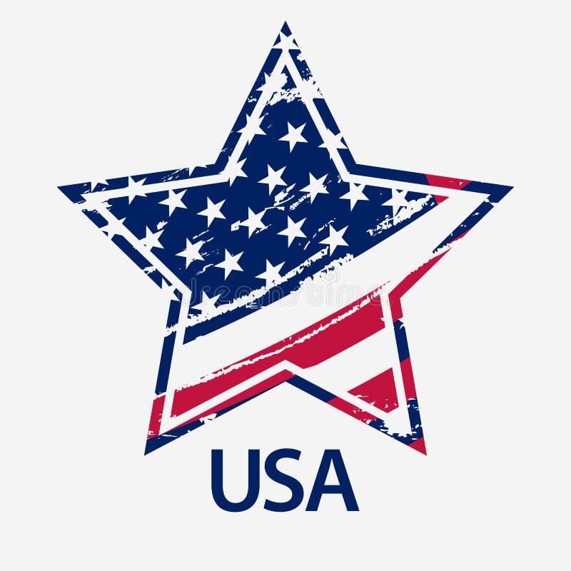 USA Star, Grunge american flag, vector. USA Star in vintage style, Grunge american flag, Independence or Veterans Day print, Patriotic emblem vector illustration vector illustration