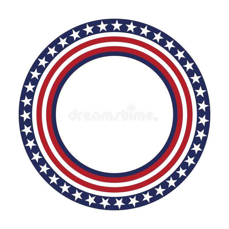 USA star vector pattern round frame. American patriotic circle border with stars and stripes pattern. stock illustration