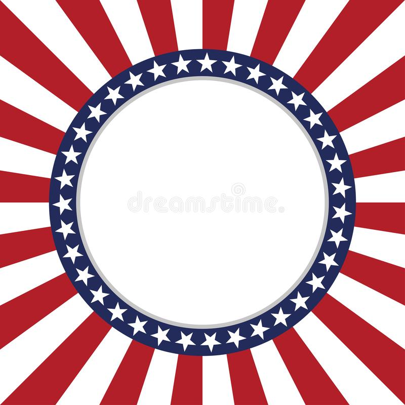 USA star vector pattern round frame. American patriotic circle border with stars and stripes pattern. Abstract geometric. Vector and illustration royalty free illustration