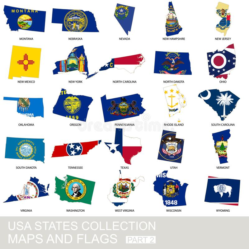 USA state collection, maps and flags stock illustration
