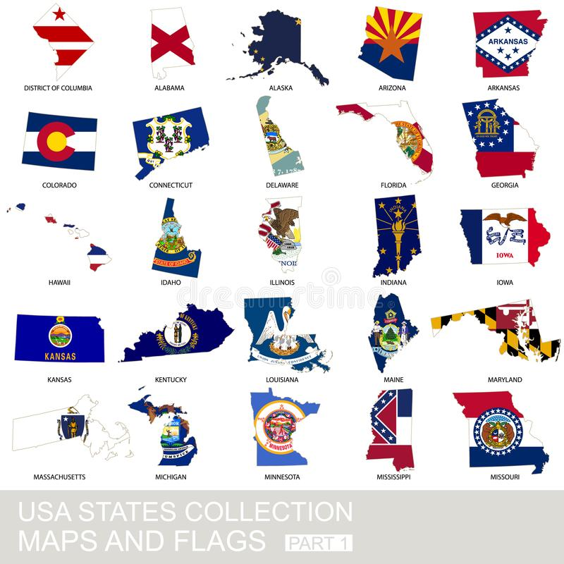 USA state collection, maps and flags vector illustration