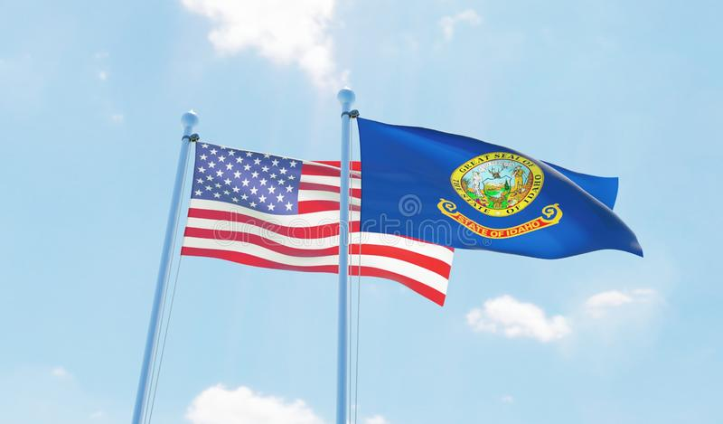 USA and state Idaho, two flags waving against blue sky. 3d image royalty free illustration