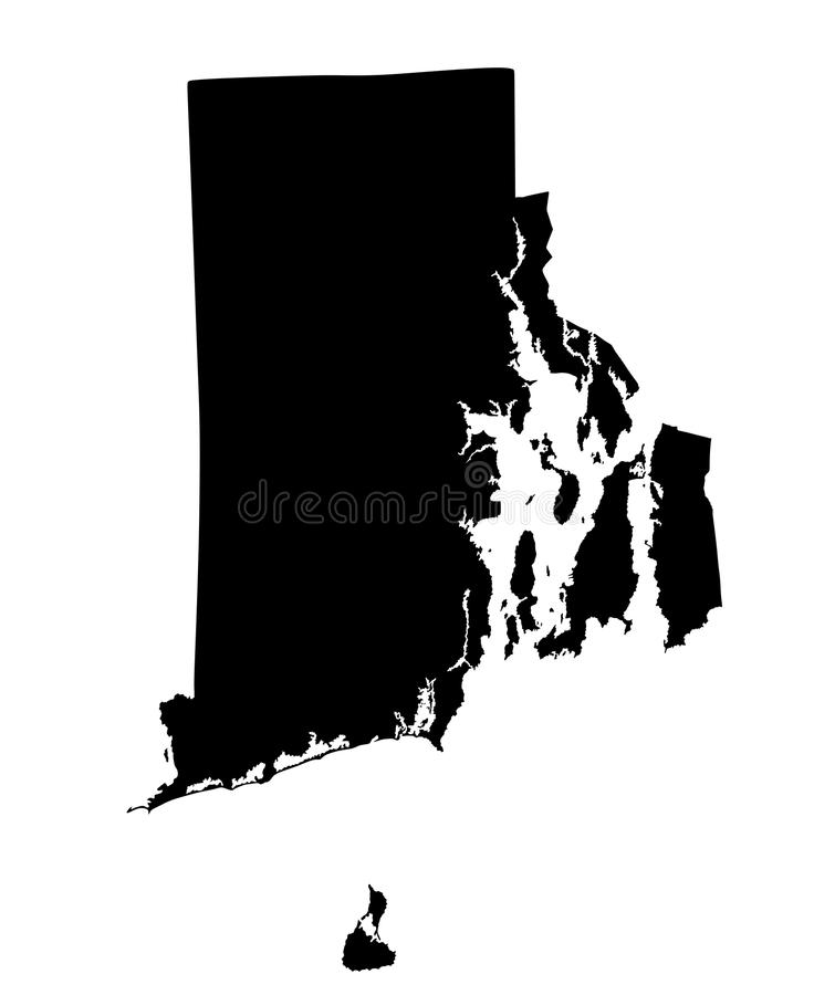 USA State of Rhode Island map silhouette. vector illustration