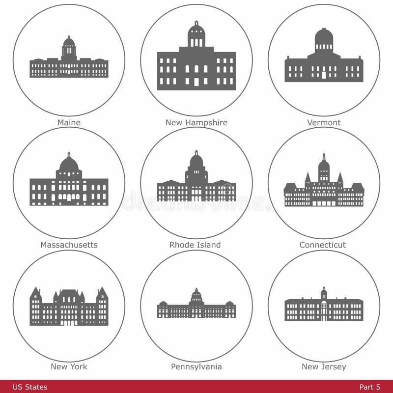 USA-stater - som symboliseras av de statliga Kapitolium (del stock illustrationer