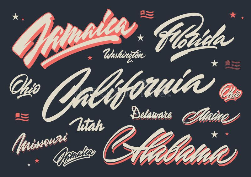 USA states brush lettering royalty free stock image