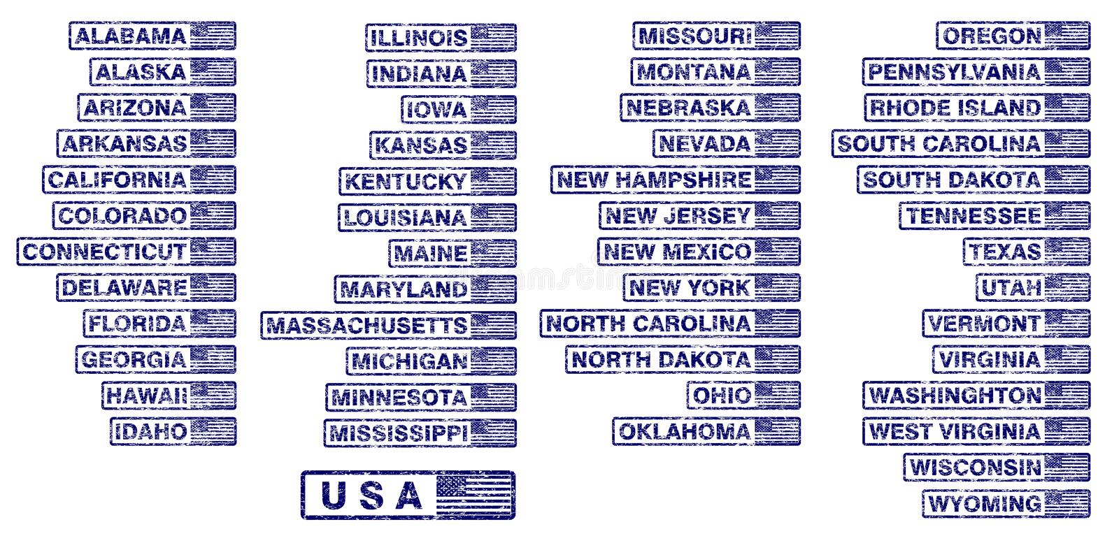 USA states rubber stamps - cdr format vector illustration