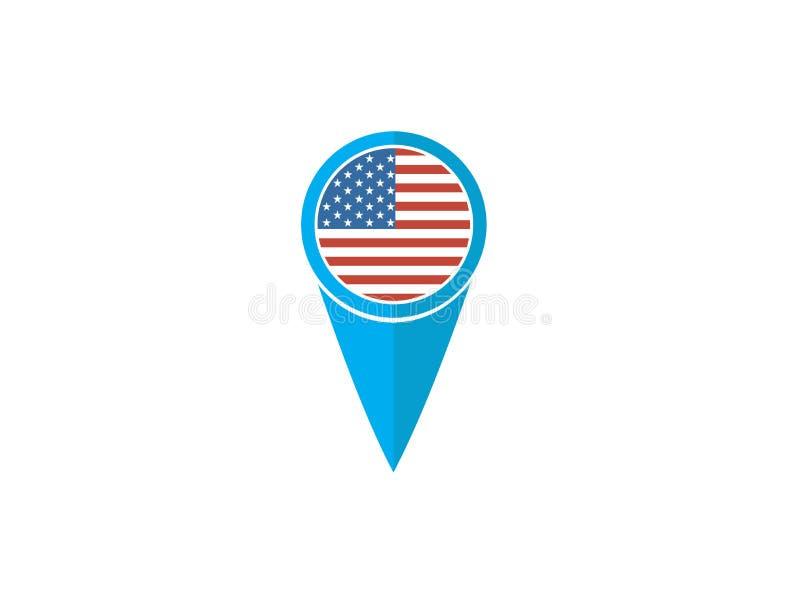USA-Stiftflagge für Logoentwurfsillustration stock abbildung