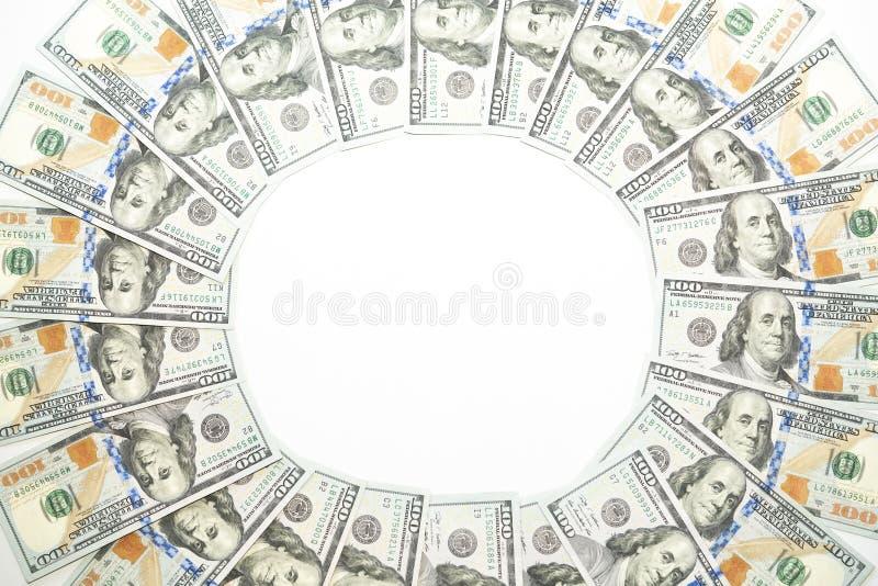 USA sto dolarów rachunku pieniądze okręgu wzoru na białym tle zdjęcie royalty free