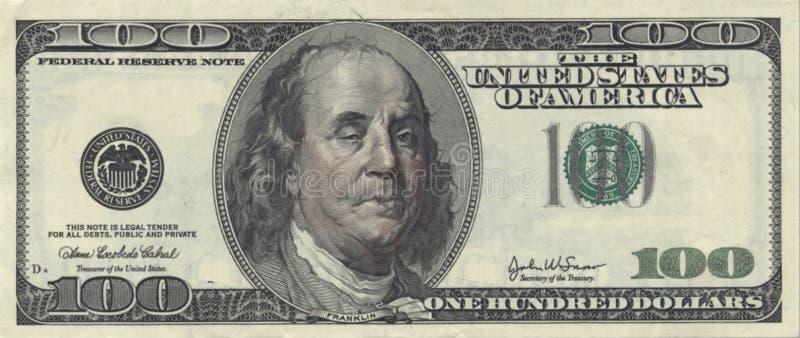 USA Sto Dolarowy rachunek z Chmielny Ben ilustracji
