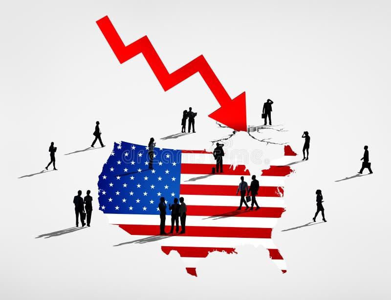 USA Stock Market Economy Crisis Concept vector illustration