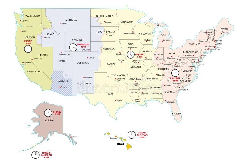 USA strefy czasowej mapa royalty ilustracja