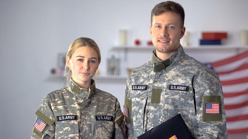 USA students of military academy with folders looking at camera, education. Stock photo stock photo