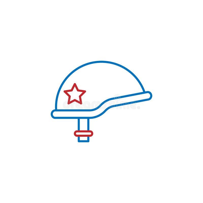 USA, Sturzhelmikone Element der USA-Kulturikone D?nne Linie Ikone f?r Websitedesign und Entwicklung, APP-Entwicklung Erstklassige lizenzfreie abbildung