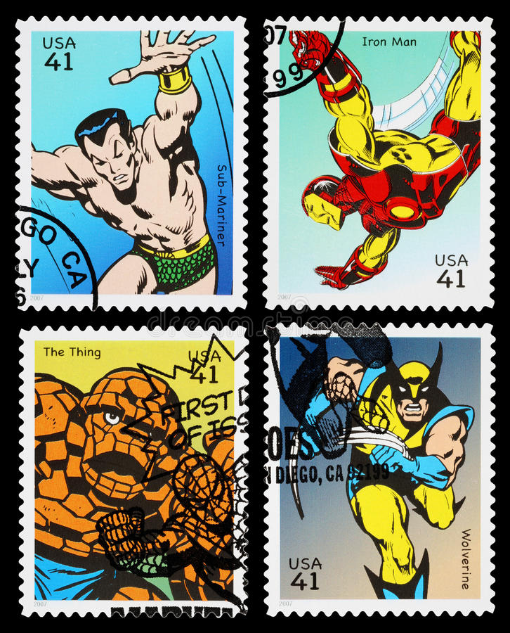 USA Superhero Postage Stamps stock images