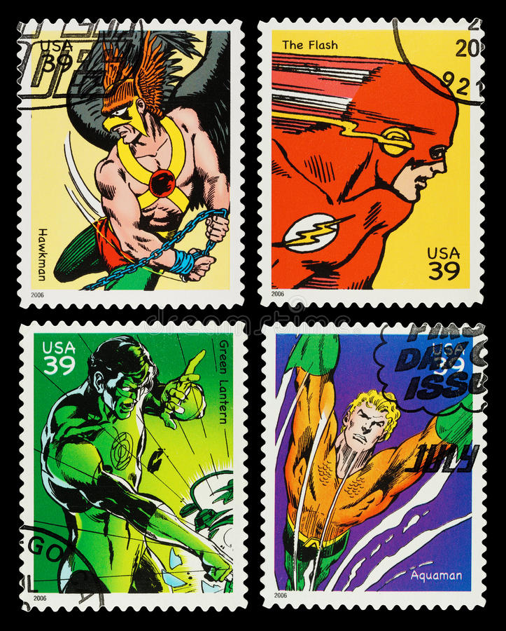 USA Superheroes Postage Stamps. United States Postage Stamps showing the Superheroes Hawkman, The Flash, Green Lantern and Aquaman, circa 2006 vector illustration
