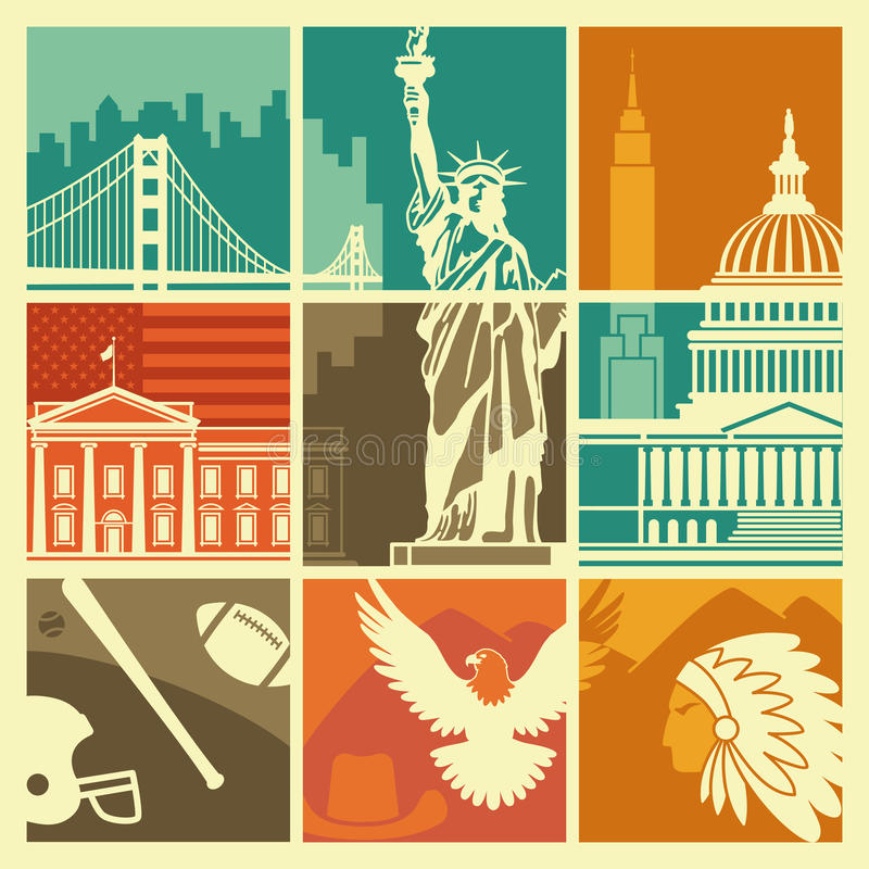 USA symbols. Traditional symbols of architecture and culture of the USA royalty free illustration
