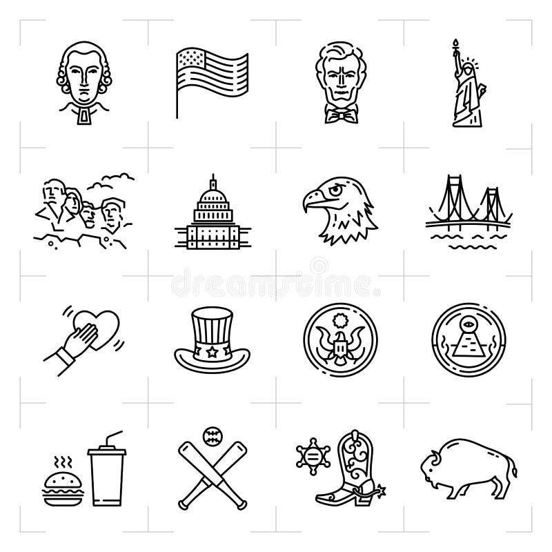 USA symbolsuppsättning, symboler för amerikansk kultur Tunn linje konstdesign, vektoröversiktsillustration royaltyfri illustrationer