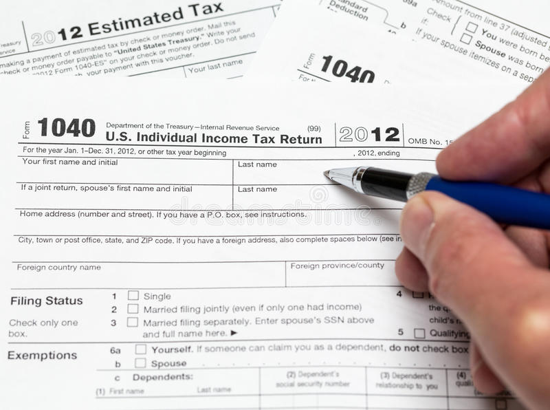 Usa Tax Form 1040 For Year 2012 Editorial Stock Image Image Of