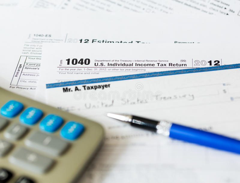 Usa Tax Form 1040 For Year 2012 With Check Stock Image Image Of
