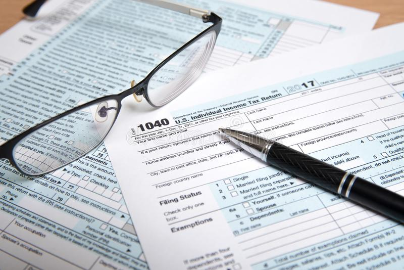 USA tax form 1040 royalty free stock images