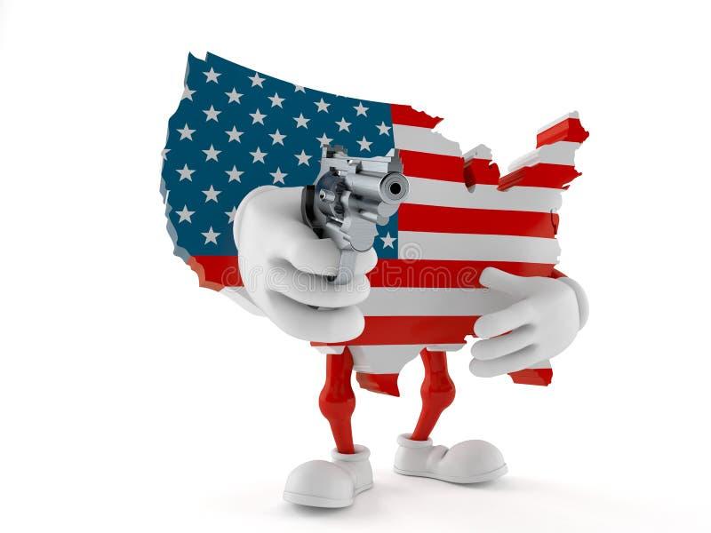 USA tecken som siktar ett vapen stock illustrationer