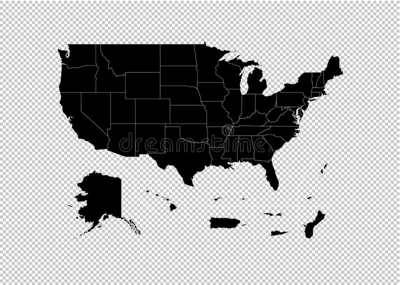USA Territories map - High detailed Black map with counties/regions/states of USA Territories. USA Territories map isolated on vector illustration