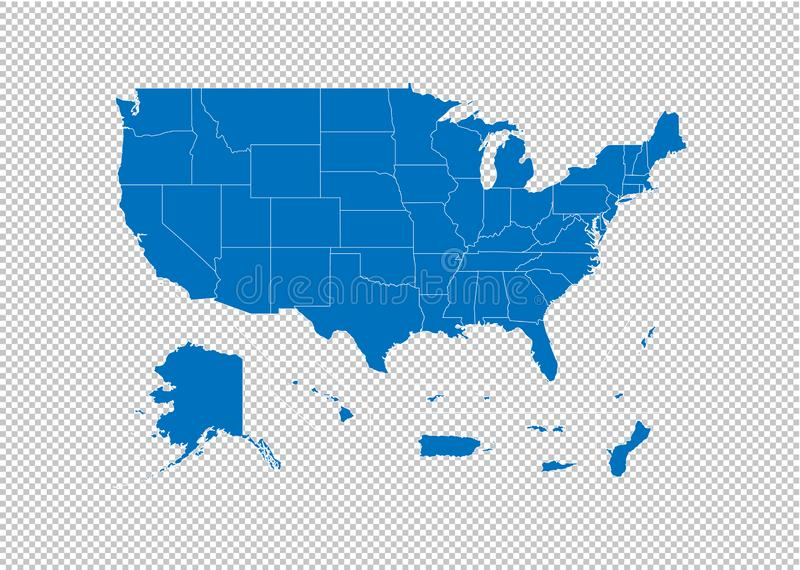 USA Territories map - High detailed blue map with counties/regions/states of USA Territories. USA Territories map isolated on royalty free illustration