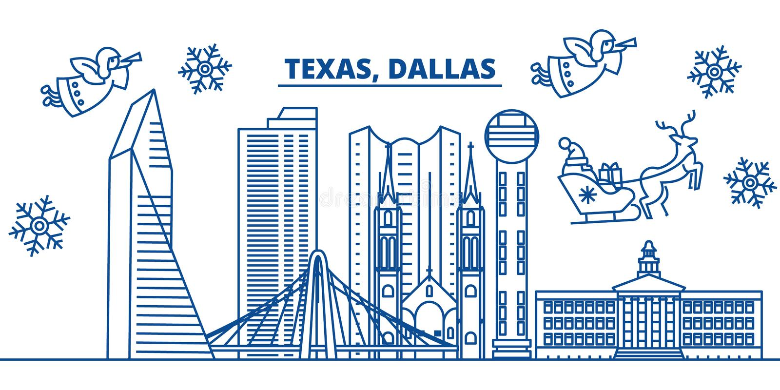 USA, Texas, Dallas winter city skyline. Merry Christmas and Happy New Year decorated banner. Winter greeting card with royalty free illustration