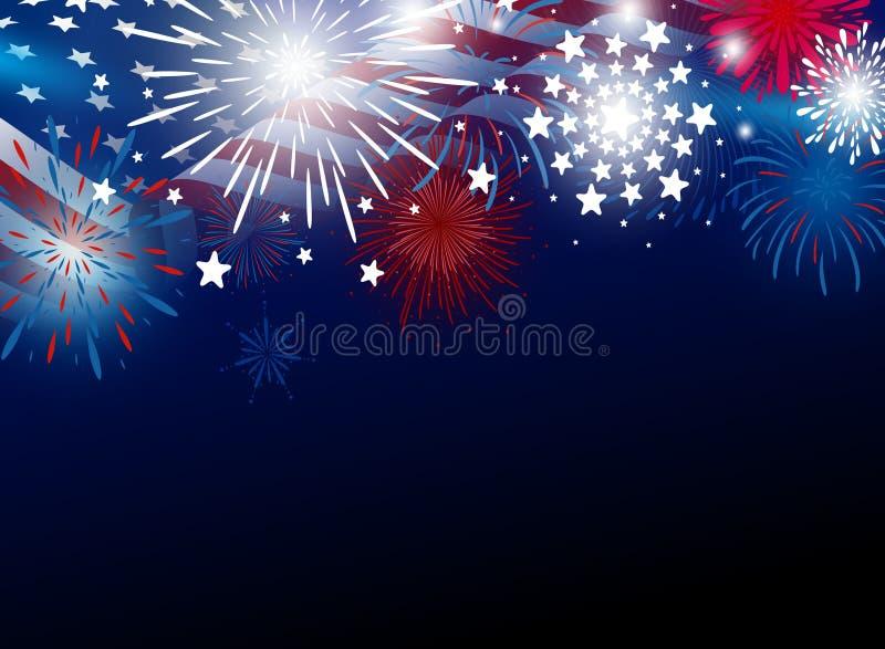 USA 4th av den juli självständighetsdagendesignen av amerikanska flaggan med fyrverkerier stock illustrationer
