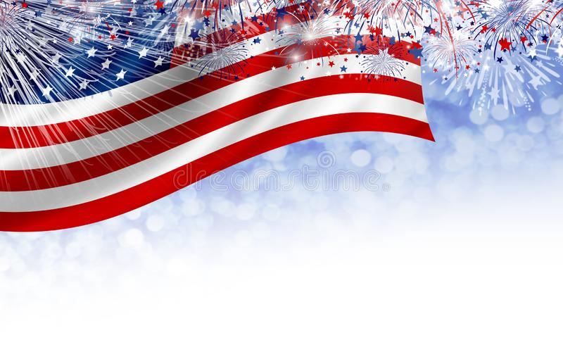 USA 4th av designen för juli självständighetsdagenbaner av amerikanska flaggan med fyrverkerier vektor illustrationer