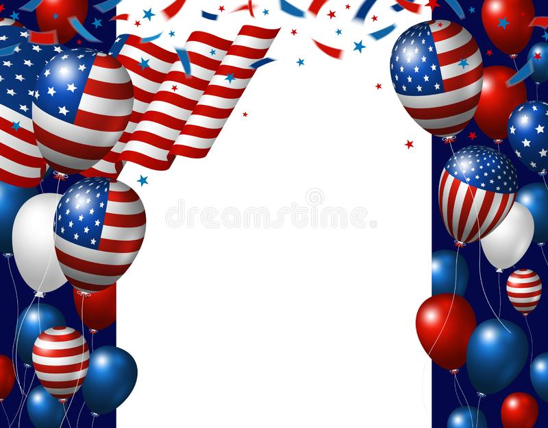 USA 4th of july independence day banner design of American flag and balloons with copy space royalty free illustration