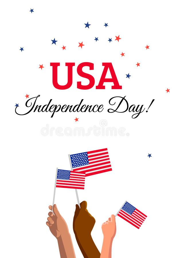 USA 4th of July Independence Day placard, banner or greeting card. Vector illustration with american flags on young people hands vector illustration
