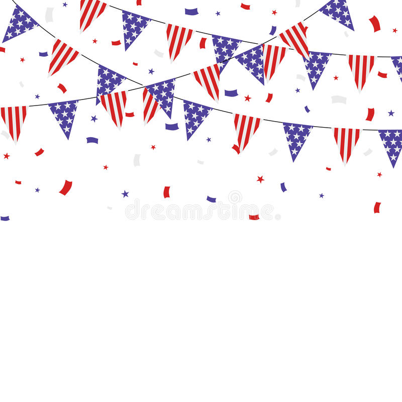 USA themed patriotiskt buntings- och konfettibaner stock illustrationer