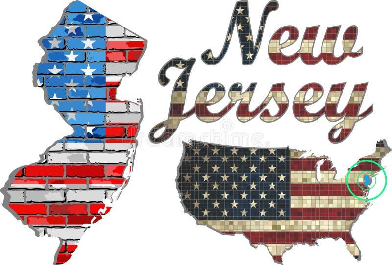 USA tillstånd av nytt - ärmlös tröja på en tegelstenvägg royaltyfri illustrationer