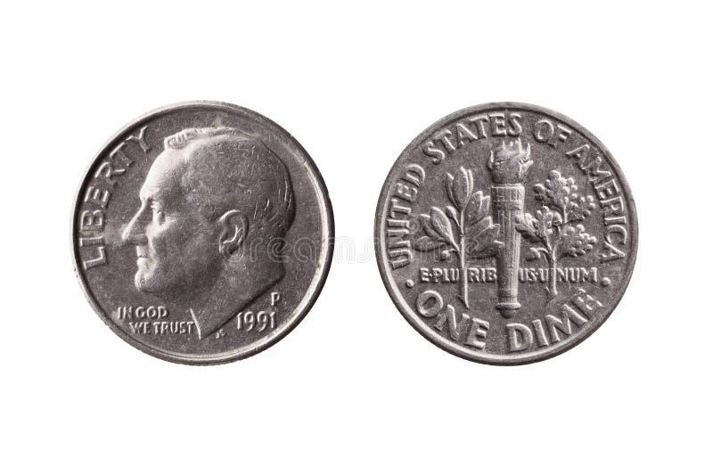 USA tiocentaremynt 10 cent avers Franklin D Roosevelt arkivfoto