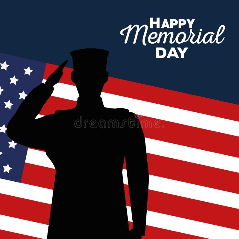 USA tjäna som soldat med flaggan till minnesdagen royaltyfri illustrationer
