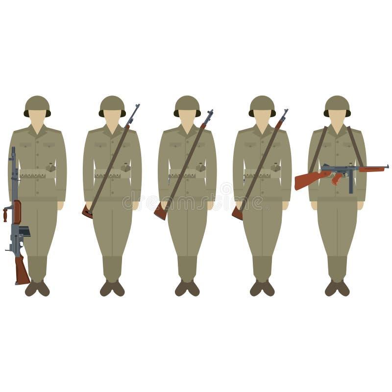 USA tjäna som soldat med vapen av världskrig II stock illustrationer