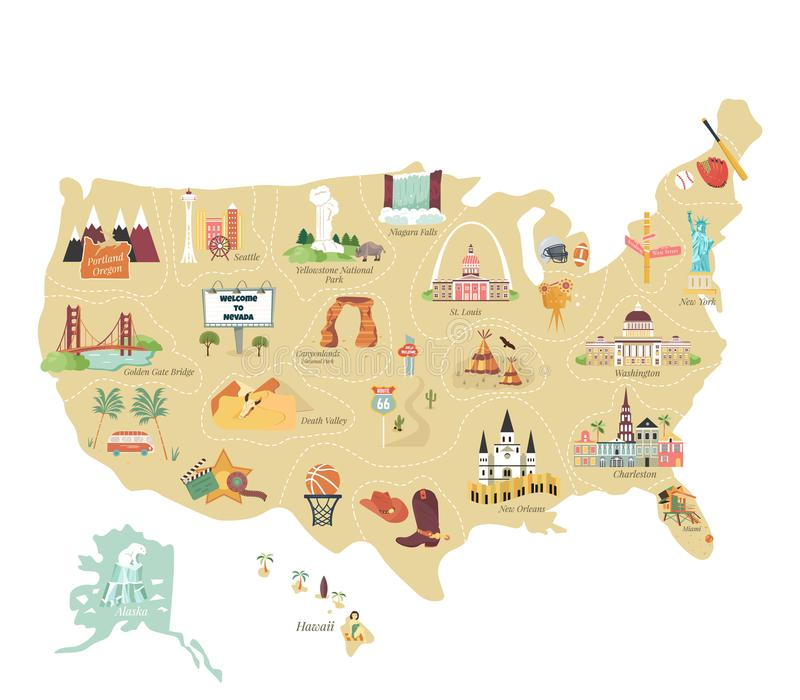 USA tourist vector map with famous landmarks. And symbols. Tourist infographics, popular attractions stock illustration