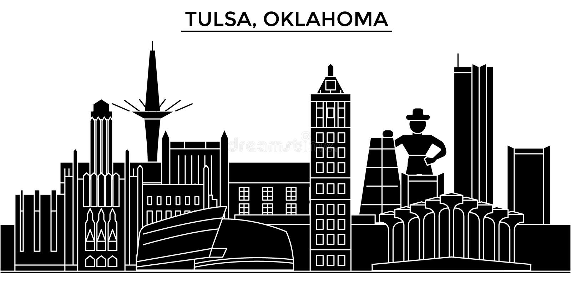 Usa, Tulsa, Oklahoma architektury miasto wektorowa linia horyzontu ilustracji
