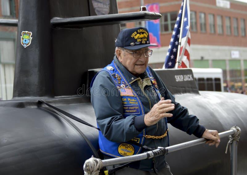 USA-ubåtveteran på ubåtflötet fotografering för bildbyråer