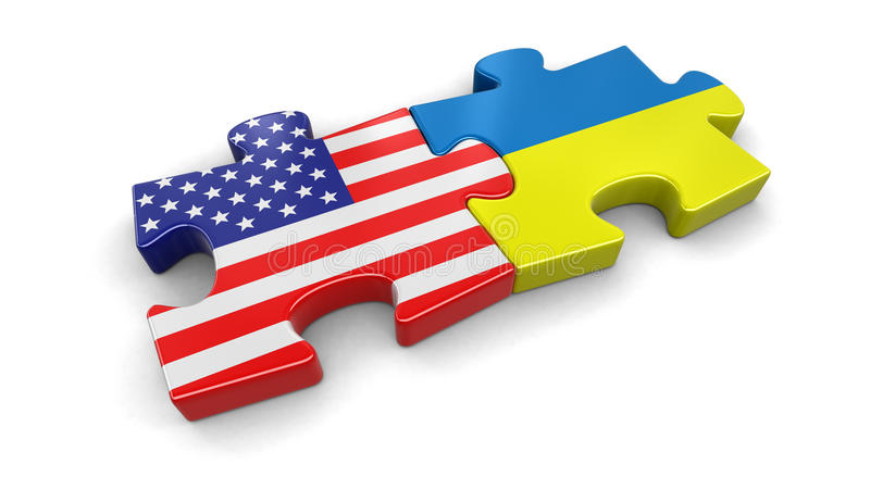 USA and Ukraine puzzle from flags. Image with clipping path vector illustration