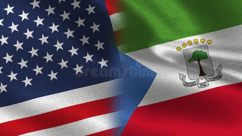 USA und Äquatorialguinea-realistische halbe Flaggen zusammen stock abbildung